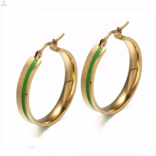 Best Quality Cheap Hoop Earrings With Green Stone In Gold