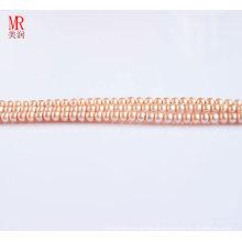 4-5mm Pink Fresh Water Pearl Strand, Round Button (ES124)