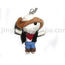 Presente da promoção Handmade Cowboy String Voodoo Doll Keychain