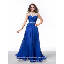 Alibaba Elegante largo nuevo diseñador de color azul real color de la gasa playa vestidos de noche o vestido de dama de honor LE24