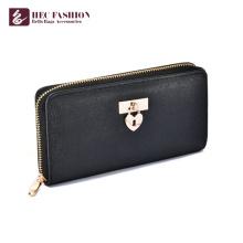 HEC Hot Selling Custom PU Material Black Wallet For Women