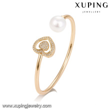 51736 xuping copper alloy jewelry,heart Shaped Pearl women bangle
