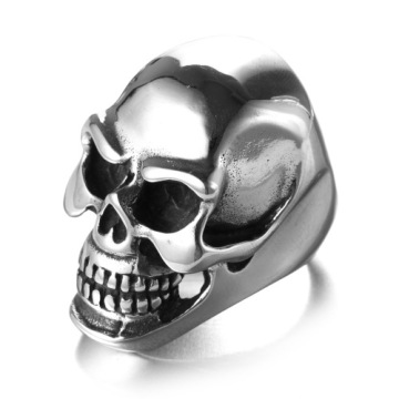 Stainless steel skull gold army rings