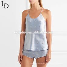 Mode Sommer Halter Tank Top und kurze Frauen Pyjama sexy Satin Pyjamas gesetzt