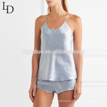 Fashion summer halter tank top and short women pyjama set sexy satin pajamas