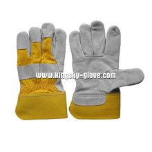 Rindspaltleder gepatcht Palm gummierte Manschette Handschuh (3059.01)