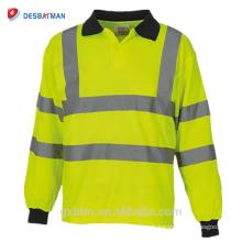 Navy Collar À Manches Longues Salut Vis Viz Haute Visibilité Sécurité T-shirts Tenue De Travail Réfléchissante Jaune Orange