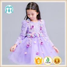 вечернее сиреневое платье на Новый год детская одежда полный рукав день рождения Рождественский вечер дети цветочные платья девушки