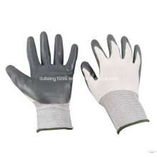 White Nylon Grey Nitrile Gloves, Coffee Side, 38g, 23 Cm