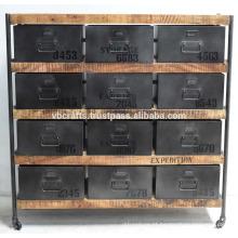 Armário de gaveta industrial vintage Metal de madeira