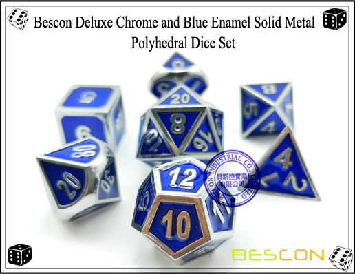 Bescon Deluxe Chrome and Blue Enamel Solid Metal Polyhedral Role Playing RPG Game Dice Set (7 Die in Pack)-3
