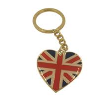 Regalos de recuerdo personalizados UK Flag Epoxy Metal Keychain