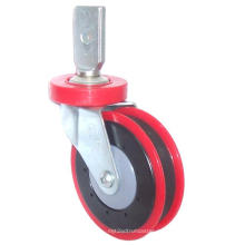 PU Shop Trolley Caster (One Groove, Red)