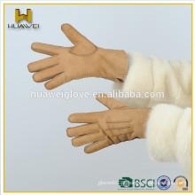 Moda genuína pele de carneiro luvas mulheres camurça luvas de trabalho de couro