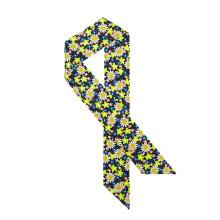 Floral Rectangular Tie Style Neckerchief Custom Design Silk Scarf