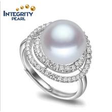 100% Real Freshwater Pearl Ring Simple Design Pearl Ring 9-10mm AAA Button 925 Fresh Water Pearl Ring
