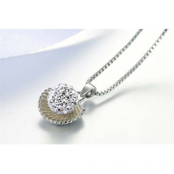 Silver Plated Shell Shape Crystal Shamballa Beads Necklace