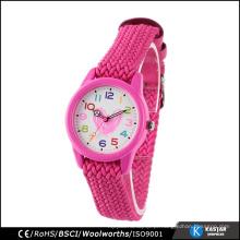 Adorável rosa tecida correia promo relógio meninas, diy relógio rosto promoção relógio