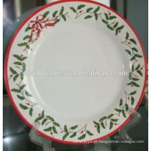 Cerâmica branca porcelana natal prato prato conjunto