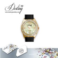 Destino joias cristal de Swarovski couro relógio