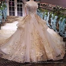 LS47522 de hombro peplum último decente appliques flores de tela para las mujeres más tamaño novia vestido de novia blanco