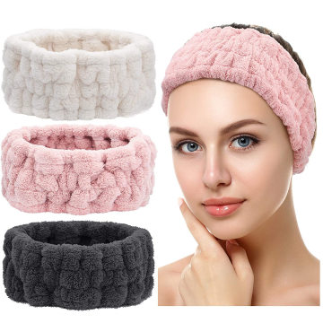 Wholesale fashionable velvet fluffy Towel Headbands wash face head band Spa hair band Makeup turban hair band for women