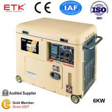 220V Single Phase Soundproof Portable Diesel Generator (5KW)