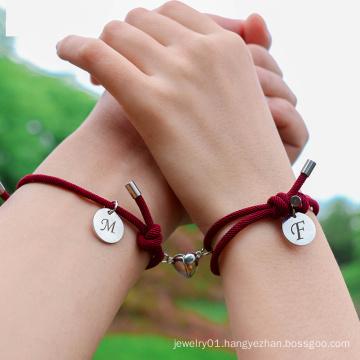 2pcs Custom 26 letters Initial Name Charm Bracelet Heart Magnet Attract Couple Bracelet friendship lover Gift