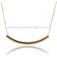 Hot Costume jóias banhado a ouro polonês Curved Bar Link colar de corrente
