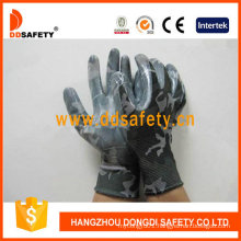 13 Gauge Nylon with Camouflage Design Shell with Nitrile Glove Dnn359
