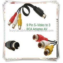 9 broches S-Video à 3 câbles RCA, TV AV mâle Adaptateur de câble