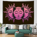 Sun- und Mond-Gesichts-Tapisserie-Mandala Wall Hanging Indian Hippie Bohemian Psychedelic Mystic Tapestry
