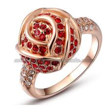 Gold Flower Diamond Fashion Bride Wedding Rings