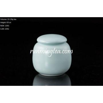 Light Blue Porcelain Tea Caddy/Canister for Matcha or Tea Samples-30g