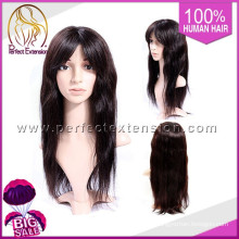 For African Free Style Brazilian Virgin Straight Hair Front Lace Wig With Silk Top