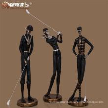 Оптовые продажи спортивных деятелей искусства сувенир-деко смолаы гольф-статуй для украшения дома