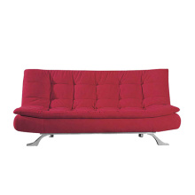 Comfortable Two Seater Red Fabric Sofa Bed