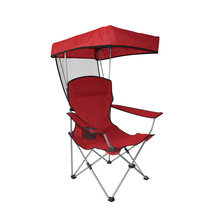 Cadeira de acampamento lazer ao ar livre com guarda-sol fácil transportar dobrável cadeira de metal à venda