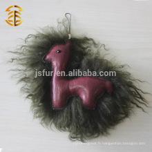 Le plus récent design unique Alpaca authentique portefeuille de fourrure et de cuir moutarde en gros