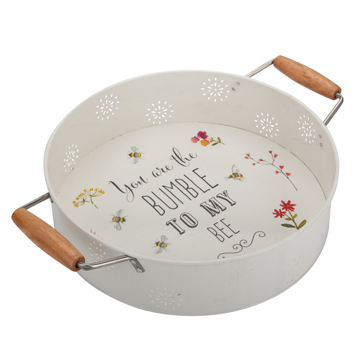 Round Metal Serving Tray Wood Handles