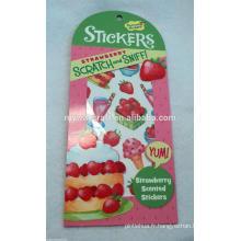 Sticker personnalisé de rayures et de reniflements alimentaires, autocollant parfumé pour aliments, autocollant parfumé