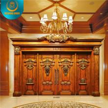 Doppeltür im europäischen Stil für Villa mit Carving (DS-9002)