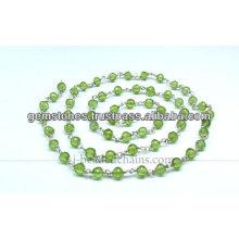 Natural Peridot Gemstone Beaded Chains, Wholesale Gemstone Jewelry Manufacturer