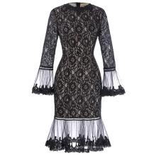 Kate Kasin Long SLeeve Poet Cuffs Crew Neck Hips-Wrapped Floral Black Lace Dress KK001027-1