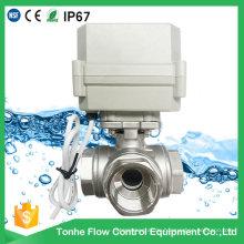3-Wege Horizontale L-Typ Elektrische Steuerung Edelstahl Ventil Motorisiert Betätigte Wasser Kugelhahn