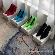 2020 summer latest material fluorescent green and kitten heel mules for ladies