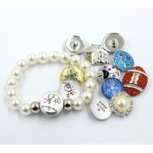 Custom Snap Button Pearl Bead Jewelry Bracelet