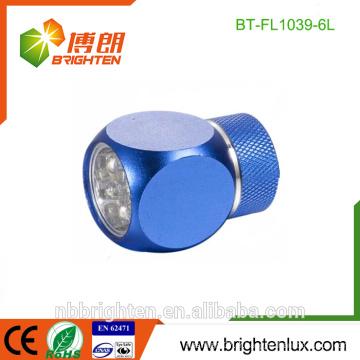 Meilleur en vente Mignon en forme de taille mini Matériau en aluminium 2 * CR2032 Batterie Logement Usage Cadeau 6 Led lampe torche torche pour enfants
