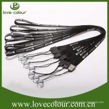 Kundenspezifische E-Zigarette Weberei Lanyard schwarz gedruckt Polyester Lanyard