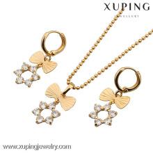 60535-Xuping Fashion Woman Brass Jewelry Set con 18 K chapado en oro
